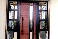 AluTim Entrance Unit With Horizontal Slatted Meranti Inserts